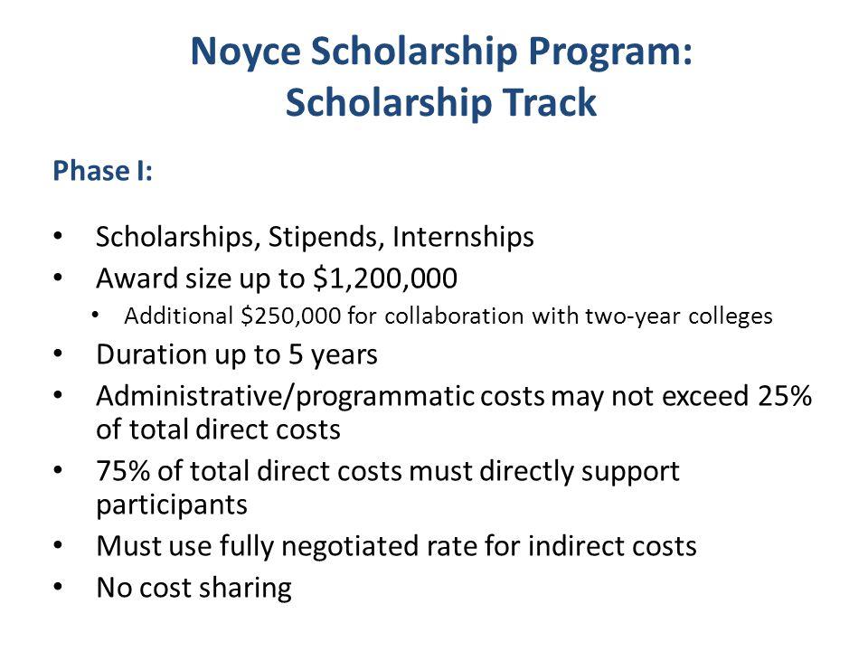 Noyce Scholarship Program: Scholarship Track Phase I: Scholarships, Stipends, Internships Award size up to $1,200,000 Additional $250,000 for collabor