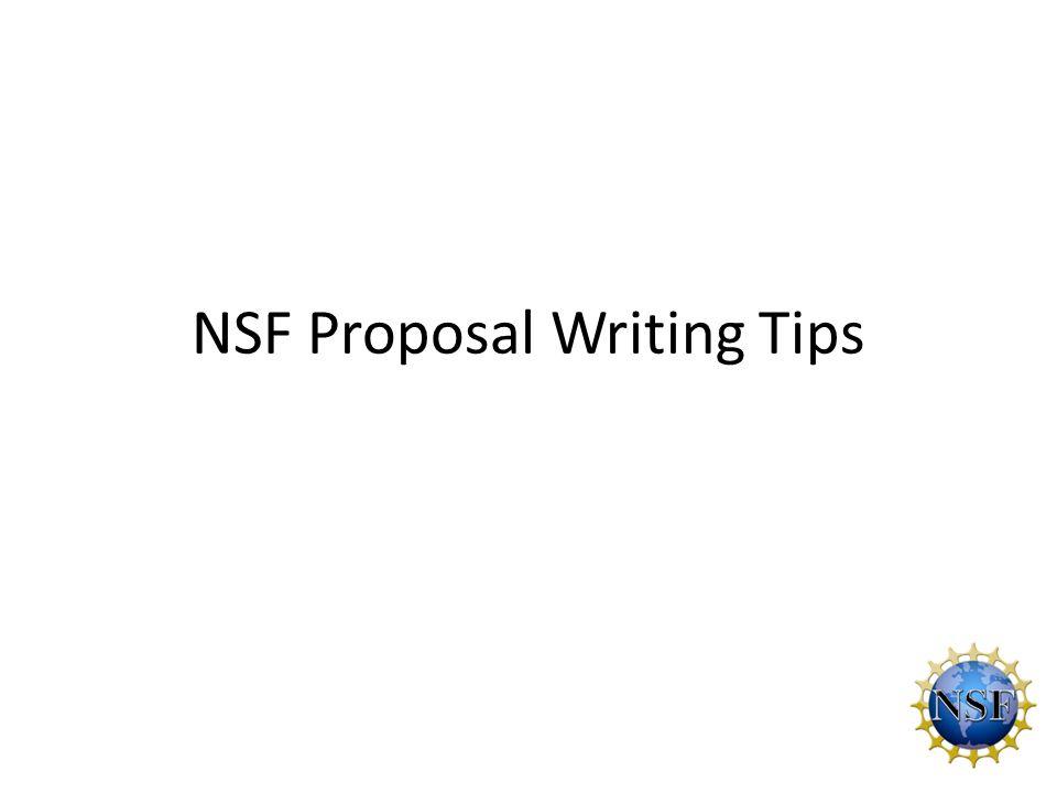 NSF Proposal Writing Tips