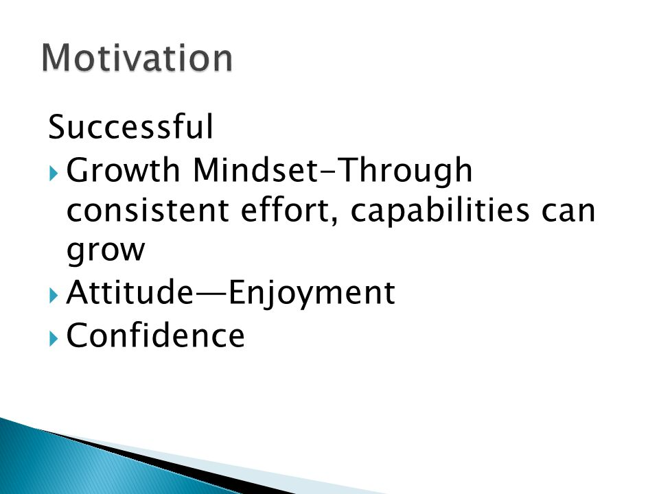 Successful  Growth Mindset-Through consistent effort, capabilities can grow  Attitude—Enjoyment  Confidence