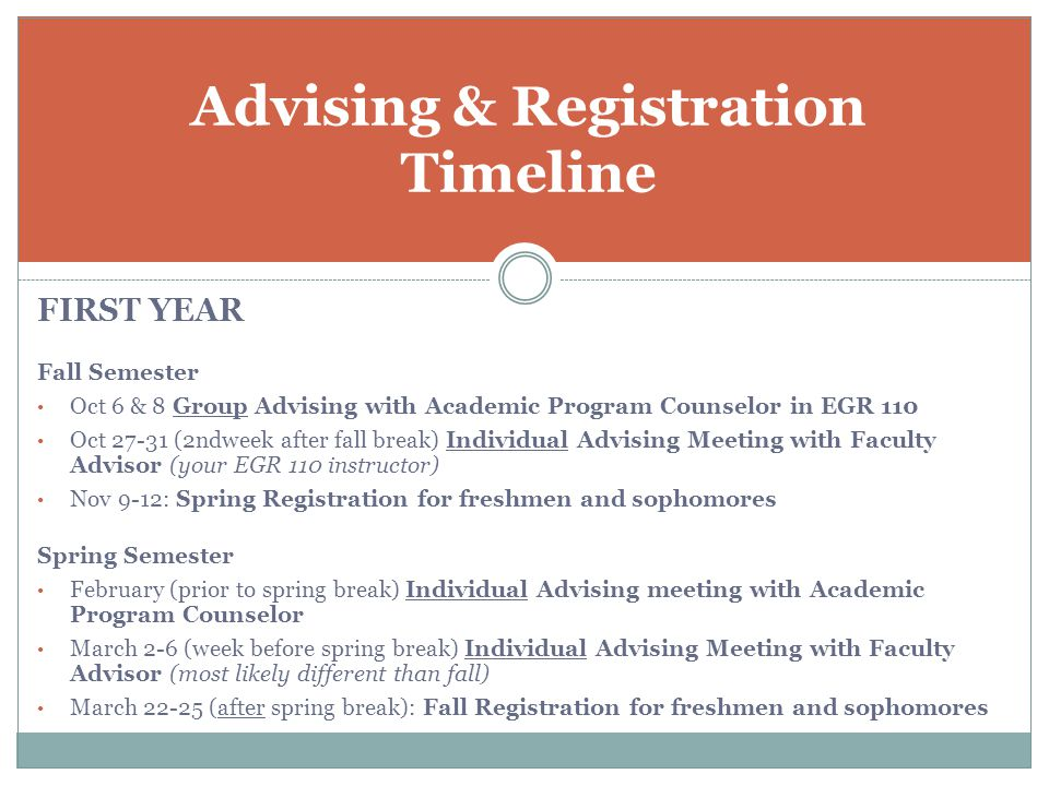 FIRST YEAR Fall Semester Oct 6 & 8 Group Advising with Academic Program Counselor in EGR 110 Oct 27-31 (2ndweek after fall break) Individual Advising