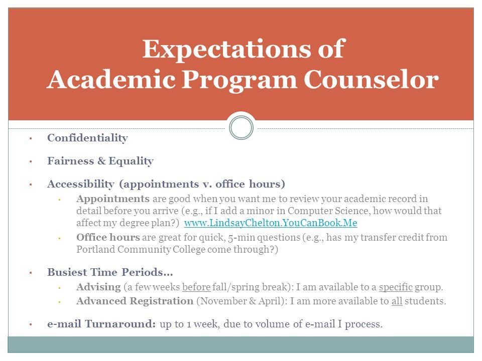 Screenshot of Academic Program Counselor's Calendar (during peak advising season)