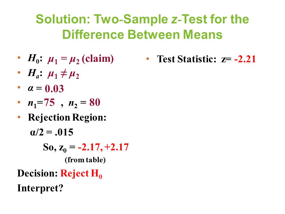 Solution: Two - Sample z - Test for the Difference Between Means H 0 : H a : α  n 1 =, n 2 = Rejection Region: α/2 =.015 So, z 0 = -2.17, +2.17 (from table) Decision: Reject H 0 Interpret.