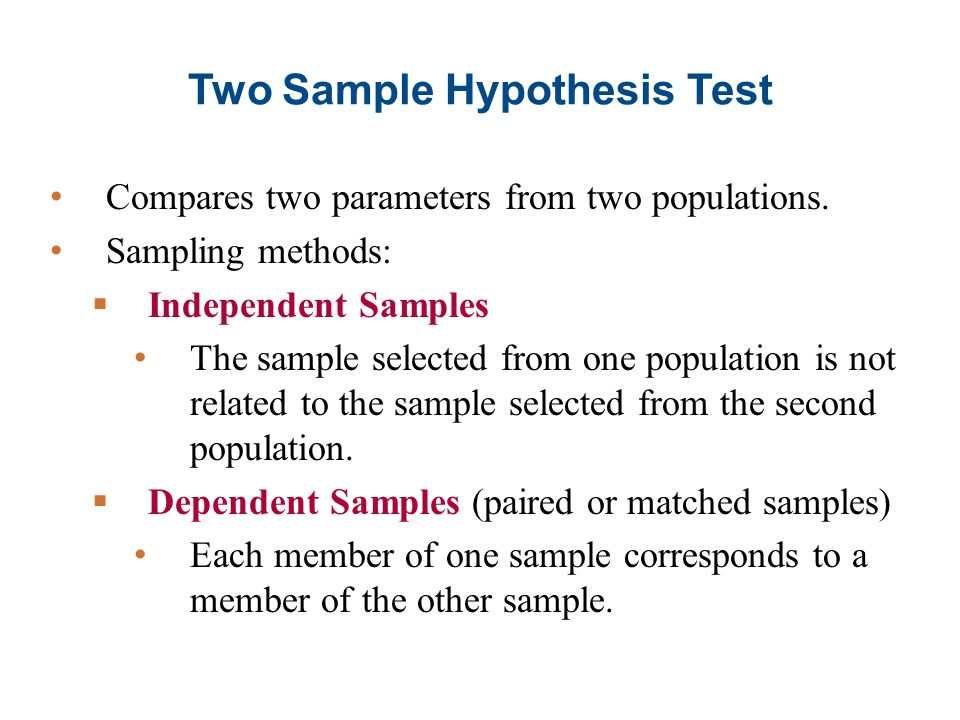 Two Sample Hypothesis Test Compares two parameters from two populations.