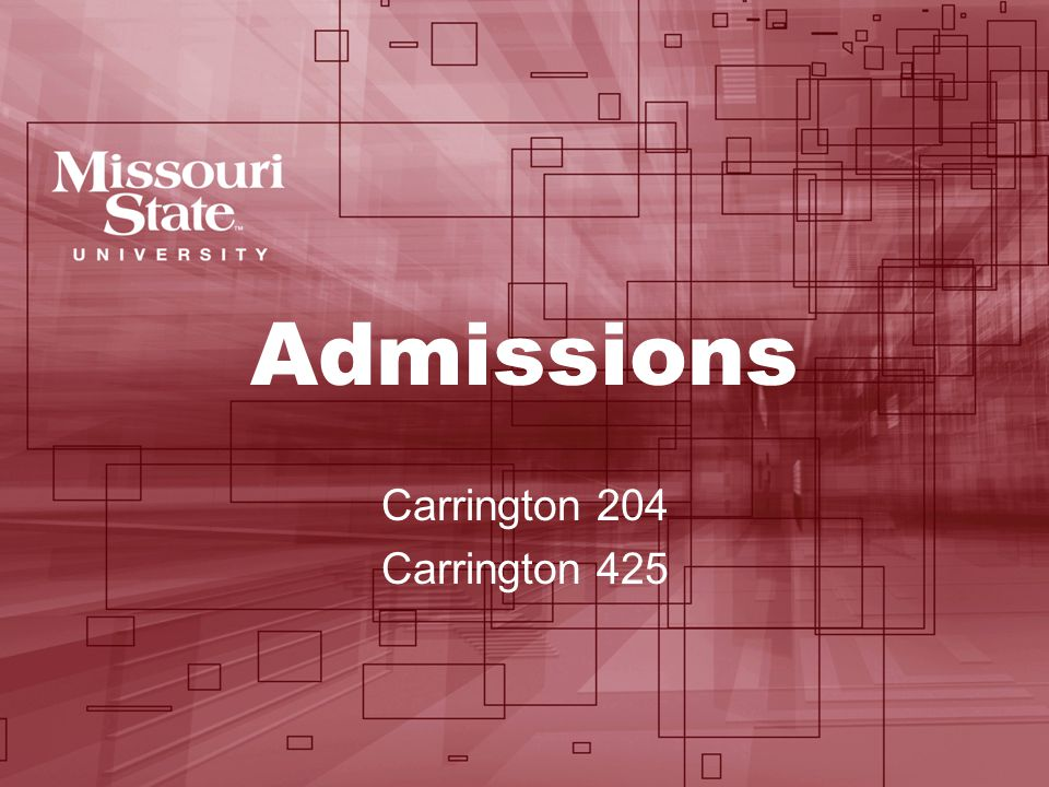 Admissions Carrington 204 Carrington 425