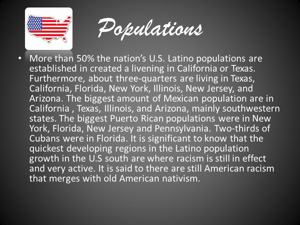 Populations More than 50% the nation's U.S.