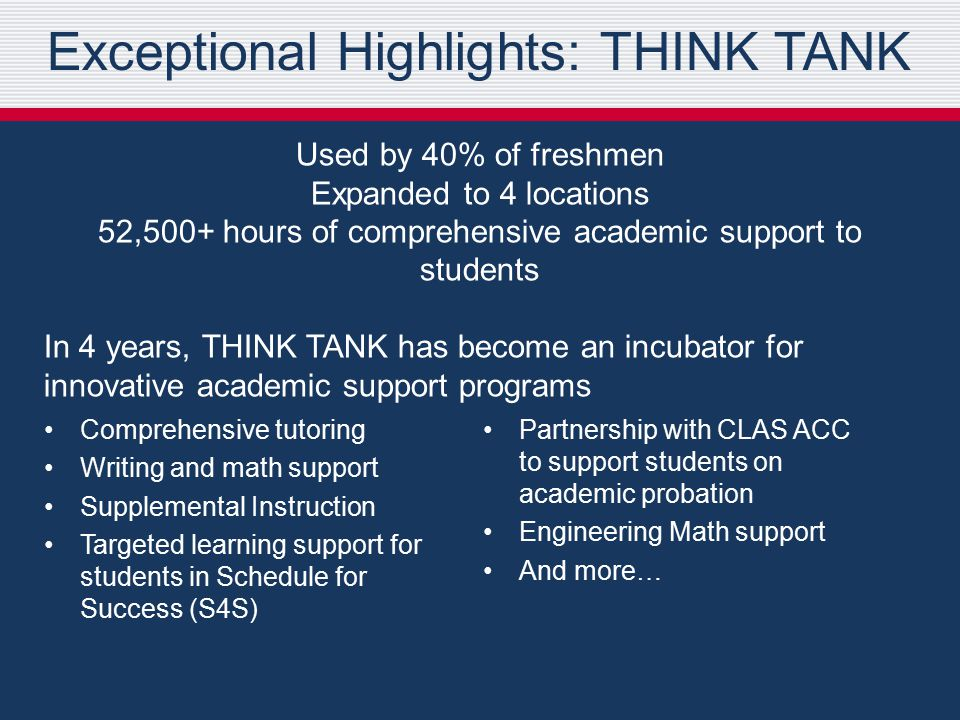 Exceptional Highlights: THINK TANK Used by 40% of freshmen Expanded to 4 locations 52,500+ hours of comprehensive academic support to students In 4 years, THINK TANK has become an incubator for innovative academic support programs Comprehensive tutoring Writing and math support Supplemental Instruction Targeted learning support for students in Schedule for Success (S4S) Partnership with CLAS ACC to support students on academic probation Engineering Math support And more…