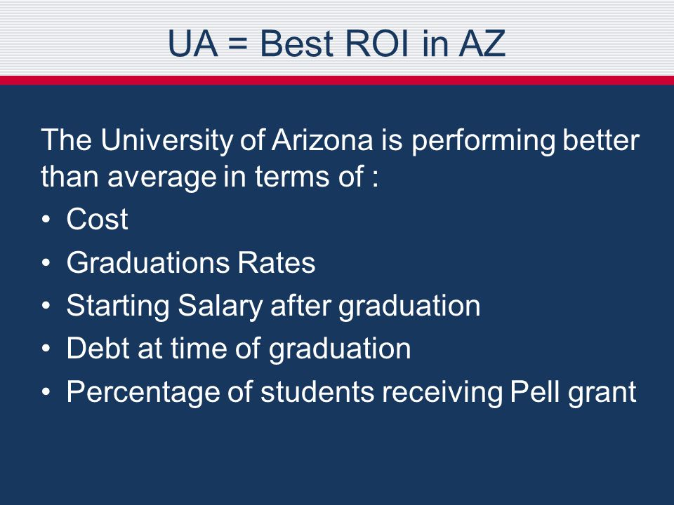 The University of Arizona is performing better than average in terms of : Cost Graduations Rates Starting Salary after graduation Debt at time of graduation Percentage of students receiving Pell grant UA = Best ROI in AZ