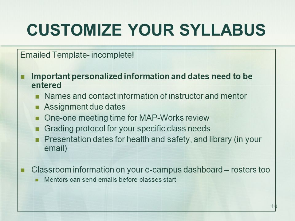 CUSTOMIZE YOUR SYLLABUS Emailed Template- incomplete.