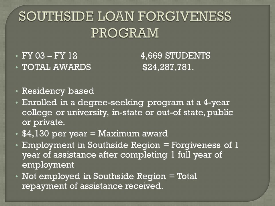 One degree per person, per lifetime Repayment deferred as long as award recipient was enrolled in qualifying courses (Graduate School) One-year Grace Period after graduation from college to find employment Minimum monthly payment = $100 Up to 10 years to repay 4 local Community Colleges also receive funds