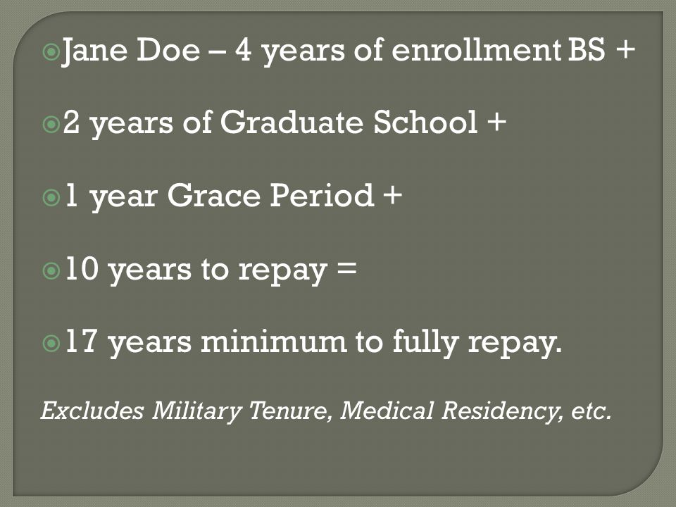  Jane Doe – 4 years of enrollment BS +  2 years of Graduate School +  1 year Grace Period +  10 years to repay =  17 years minimum to fully repay.
