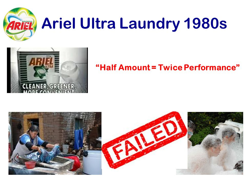 "Ariel Ultra Laundry 1980s ""Half Amount = Twice Performance"""