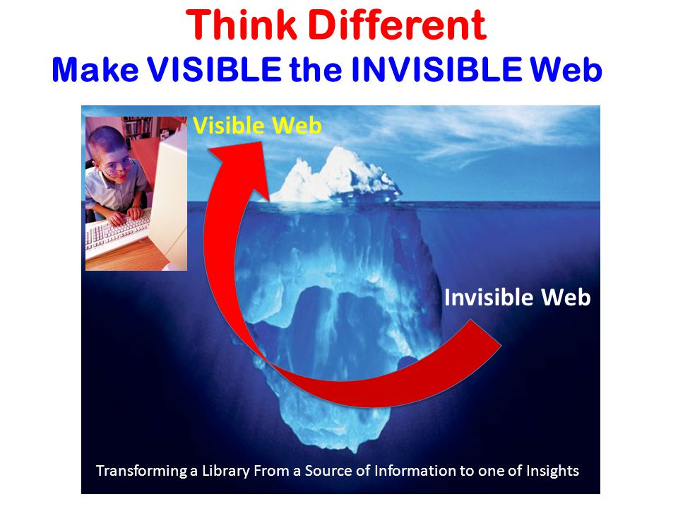 Think Different Visible Web Invisible Web Make VISIBLE the INVISIBLE Web Transforming a Library From a Source of Information to one of Insights