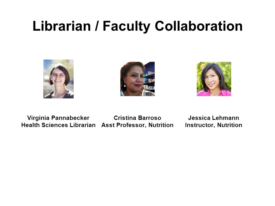 Librarian / Faculty Collaboration Virginia Pannabecker Health Sciences Librarian Cristina Barroso Asst Professor, Nutrition Jessica Lehmann Instructor