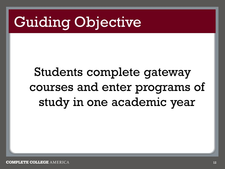 Guiding Objective Students complete gateway courses and enter programs of study in one academic year 12