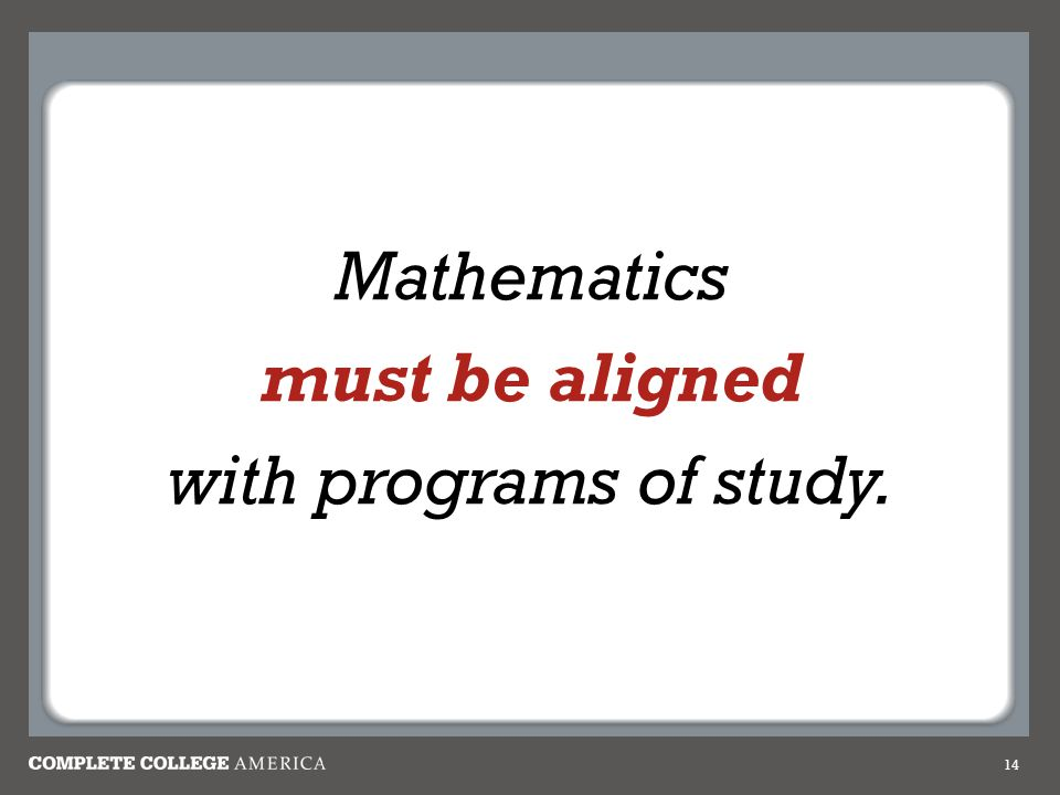 14 Mathematics must be aligned with programs of study.