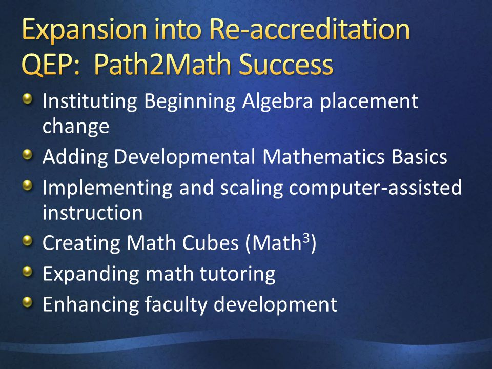 Instituting Beginning Algebra placement change Adding Developmental Mathematics Basics Implementing and scaling computer-assisted instruction Creating Math Cubes (Math 3 ) Expanding math tutoring Enhancing faculty development