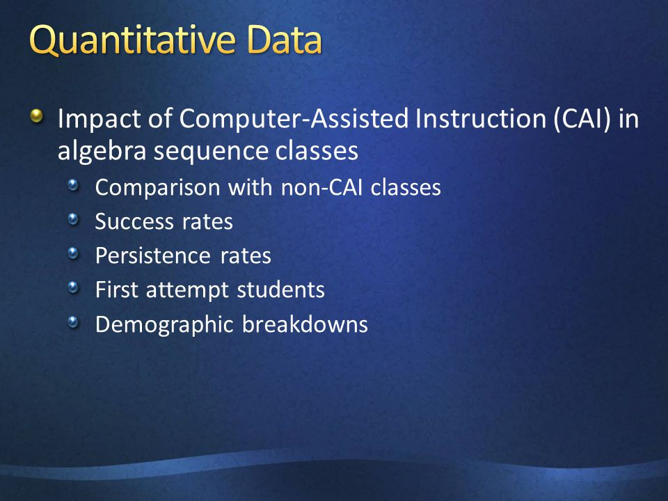 Impact of Computer-Assisted Instruction (CAI) in algebra sequence classes Comparison with non-CAI classes Success rates Persistence rates First attemp
