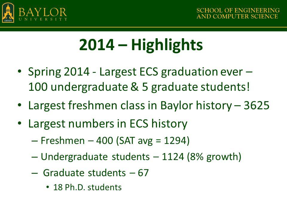 2014 – Highlights Spring 2014 - Largest ECS graduation ever – 100 undergraduate & 5 graduate students.