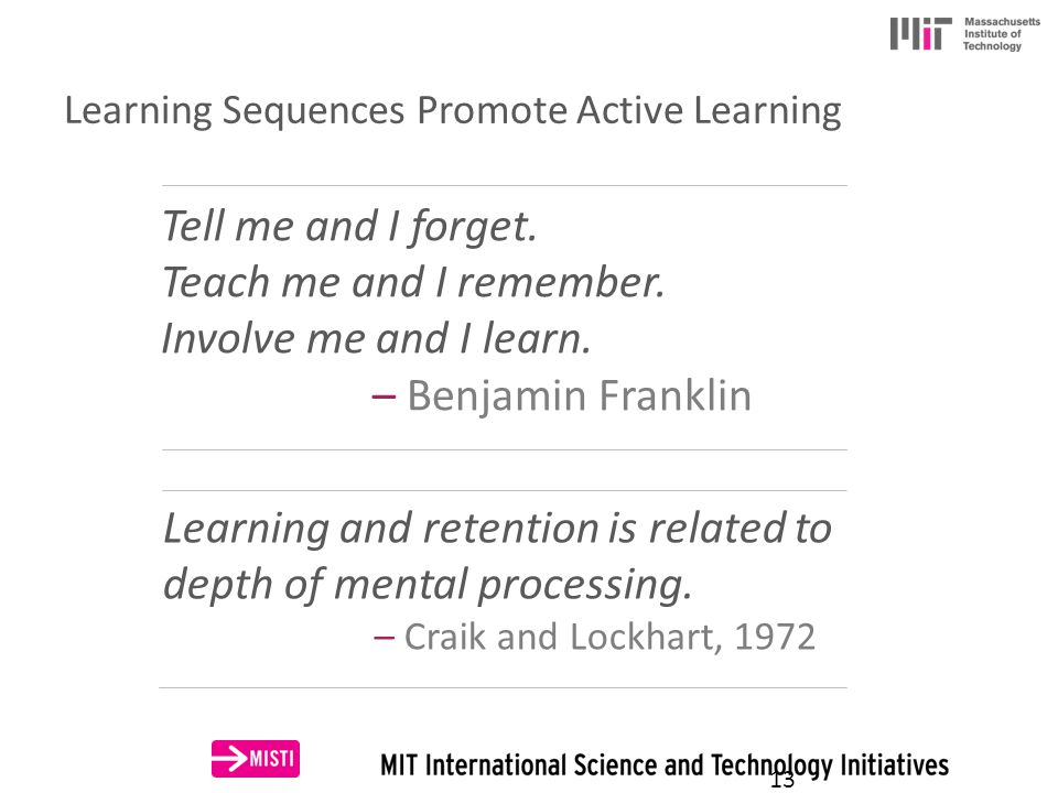 Learning Sequences Promote Active Learning Tell me and I forget.