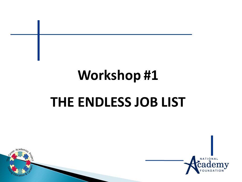Workshop #1 THE ENDLESS JOB LIST