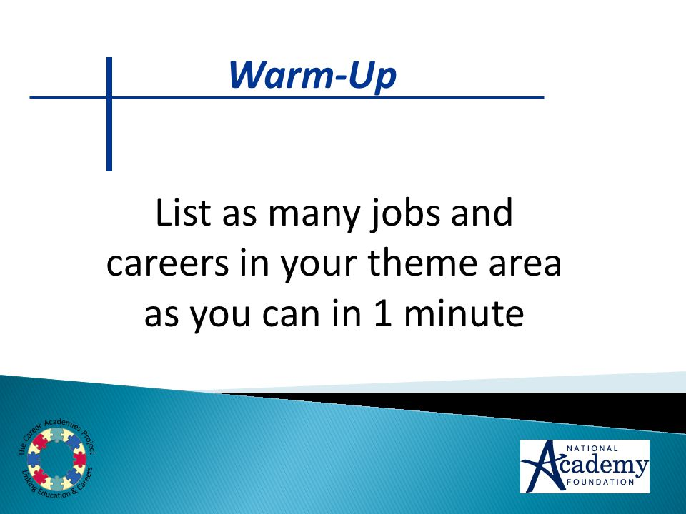 List as many jobs and careers in your theme area as you can in 1 minute Warm-Up