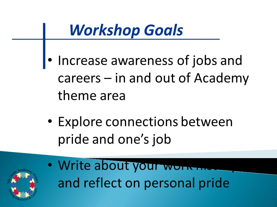 Increase awareness of jobs and careers – in and out of Academy theme area Explore connections between pride and one's job Write about your work history and reflect on personal pride Workshop Goals