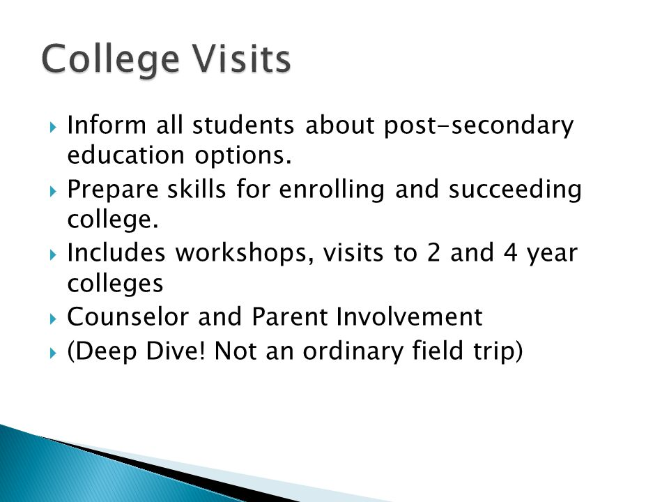  Inform all students about post-secondary education options.