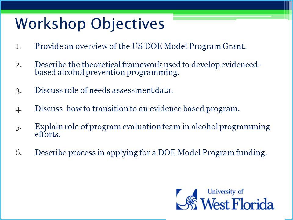 Workshop Objectives 1.Provide an overview of the US DOE Model Program Grant.