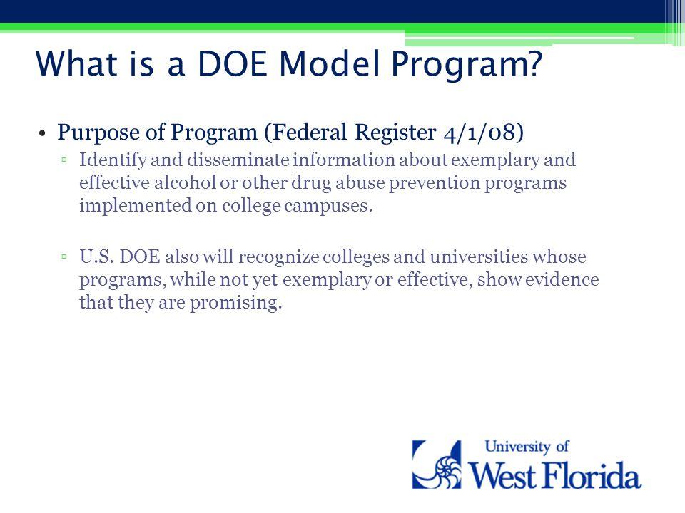 What is a DOE Model Program.