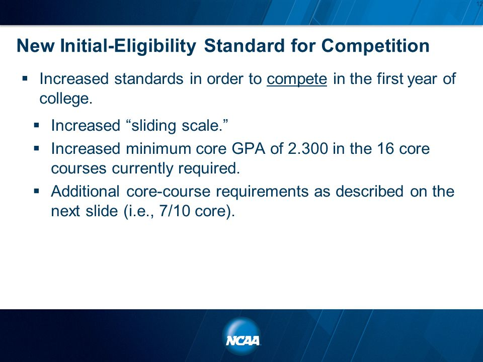 "New Initial-Eligibility Standard for Competition  Increased standards in order to compete in the first year of college.  Increased ""sliding scale."""