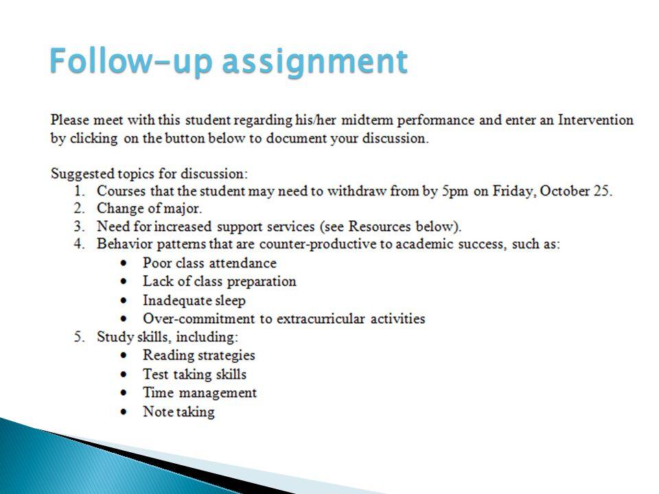 Follow-up assignment