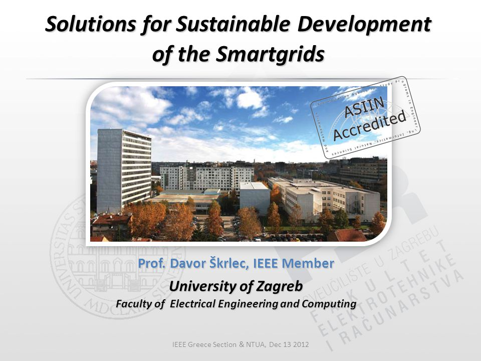 Solutions for Sustainable Development of the Smartgrids Prof.