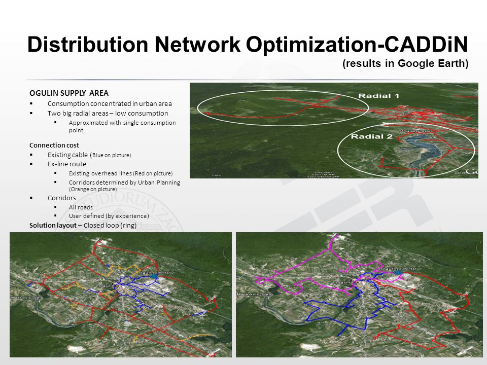 Distribution Network Optimization-CADDiN (results in Google Earth) OGULIN SUPPLY AREA  Consumption concentrated in urban area  Two big radial areas – low consumption  Approximated with single consumption point Connection cost  Existing cable ( Blue on picture)  Ex-line route  Existing overhead lines (Red on picture)  Corridors determined by Urban Planning (Orange on picture)  Corridors  All roads  User defined (by experience) Solution layout – Closed loop (ring)