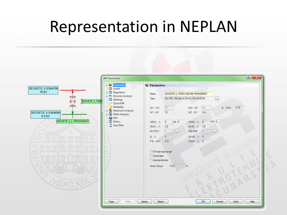 Representation in NEPLAN