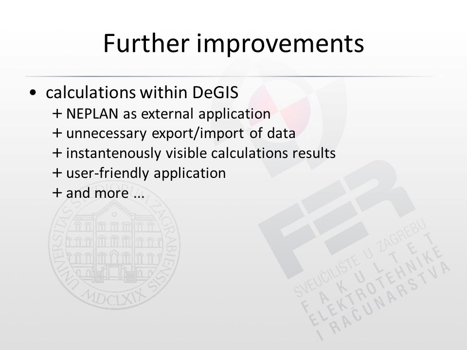 Further improvements calculations within DeGIS + NEPLAN as external application + unnecessary export/import of data + instantenously visible calculations results + user-friendly application + and more...