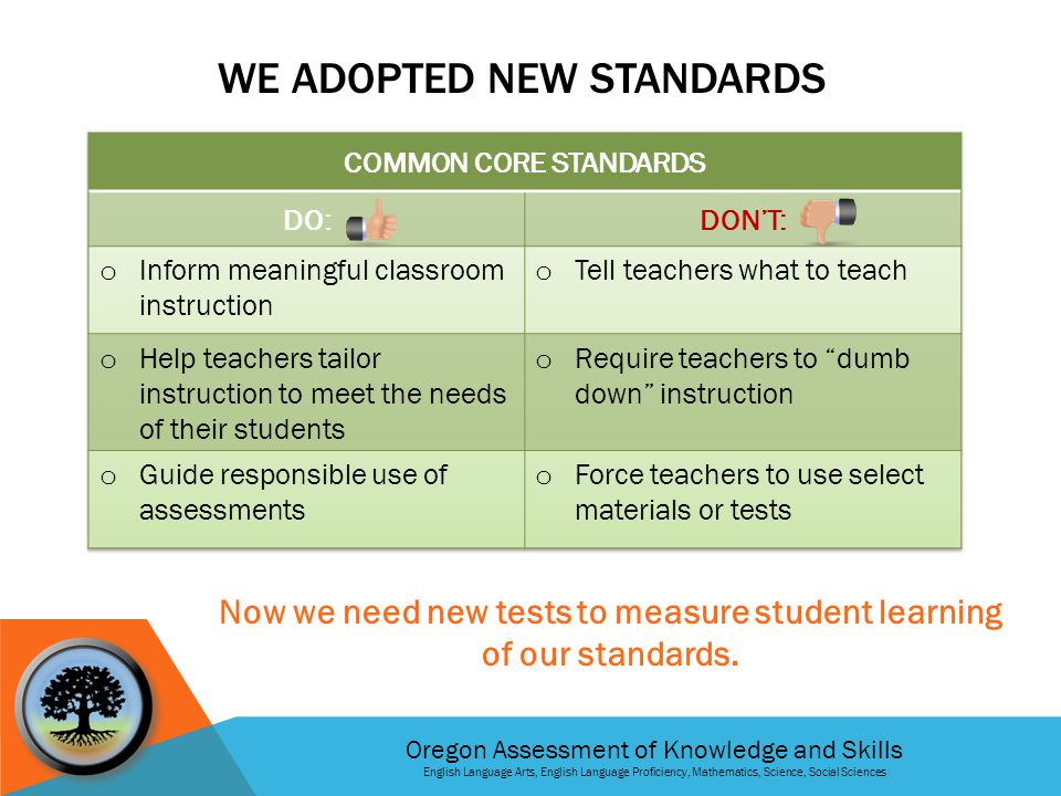 Oregon Assessment of Knowledge and Skills English Language Arts, English Language Proficiency, Mathematics, Science, Social Sciences G ET I NFORMED Read more about what your child is expected to know and do on Smarter Balanced tests Take the practice test for yourself so you can see what your child will do G ET I NVOLVED Talk to your child's principal about your school's plan for implementing the new tests Talk to your child's teacher about what your child is learning in school that involves critical thinking and problem-solving and how you can get involved at home