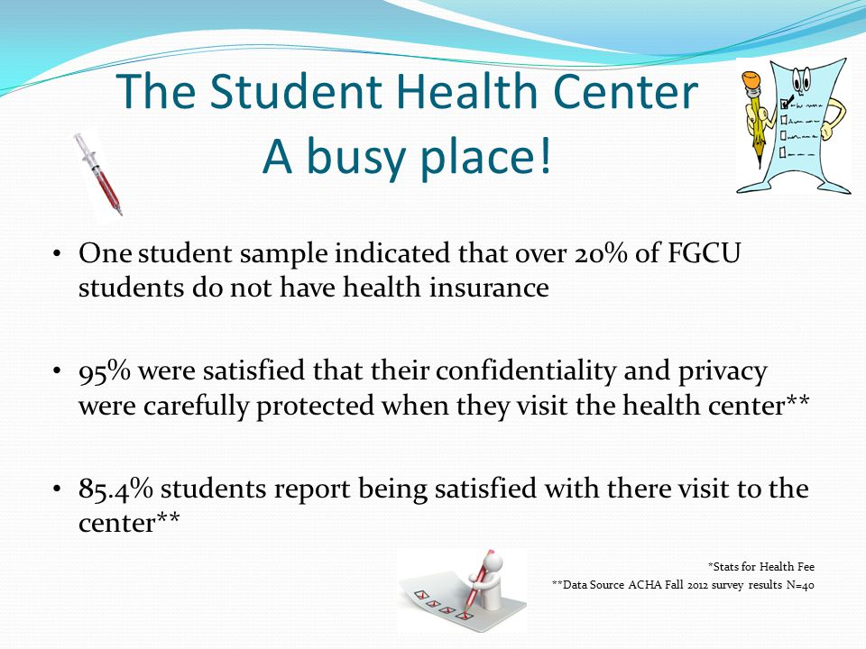 The Student Health Center A busy place.