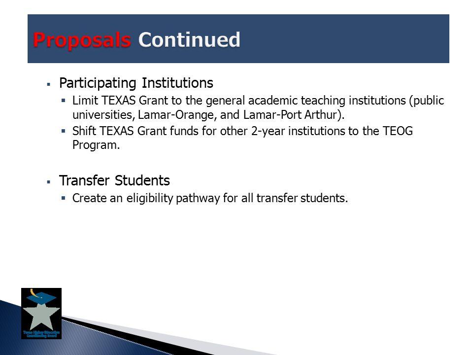  Participating Institutions  Limit TEXAS Grant to the general academic teaching institutions (public universities, Lamar-Orange, and Lamar-Port Arthur).