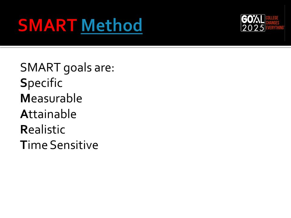 SMART goals are: Specific Measurable Attainable Realistic Time Sensitive