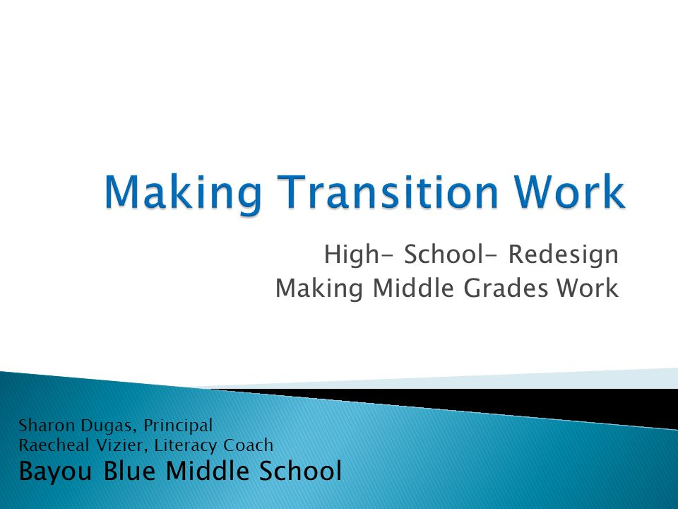 High- School- Redesign Making Middle Grades Work Sharon Dugas, Principal Raecheal Vizier, Literacy Coach Bayou Blue Middle School