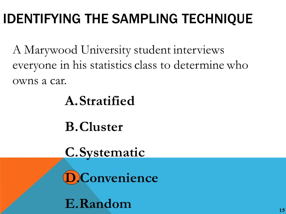 15 IDENTIFYING THE SAMPLING TECHNIQUE A Marywood University student interviews everyone in his statistics class to determine who owns a car.