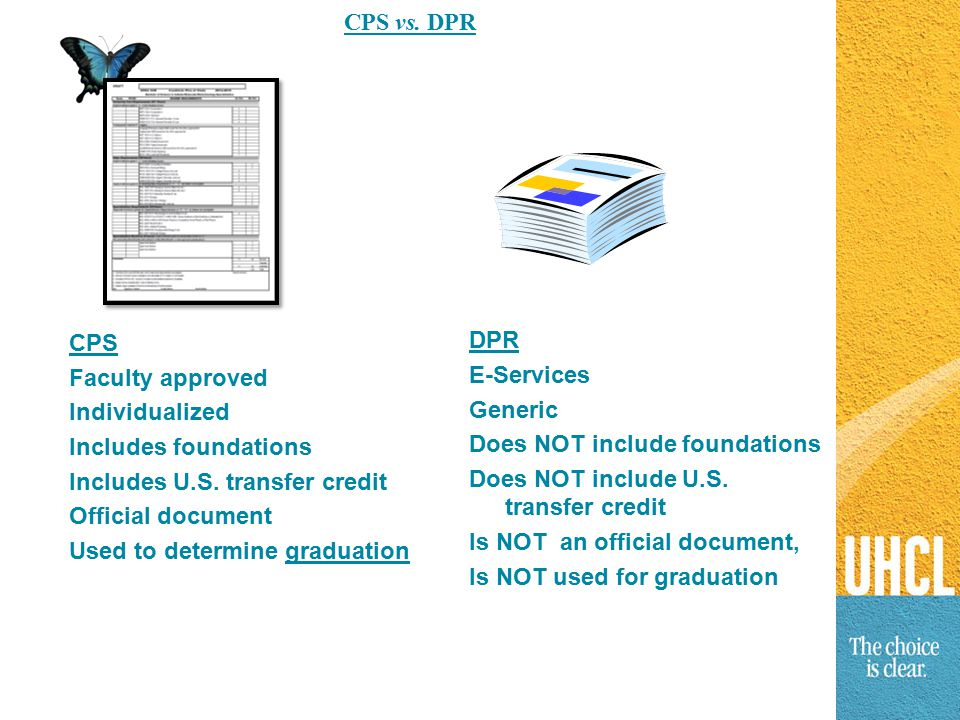 CPS vs. DPR CPS Faculty approved Individualized Includes foundations Includes U.S.
