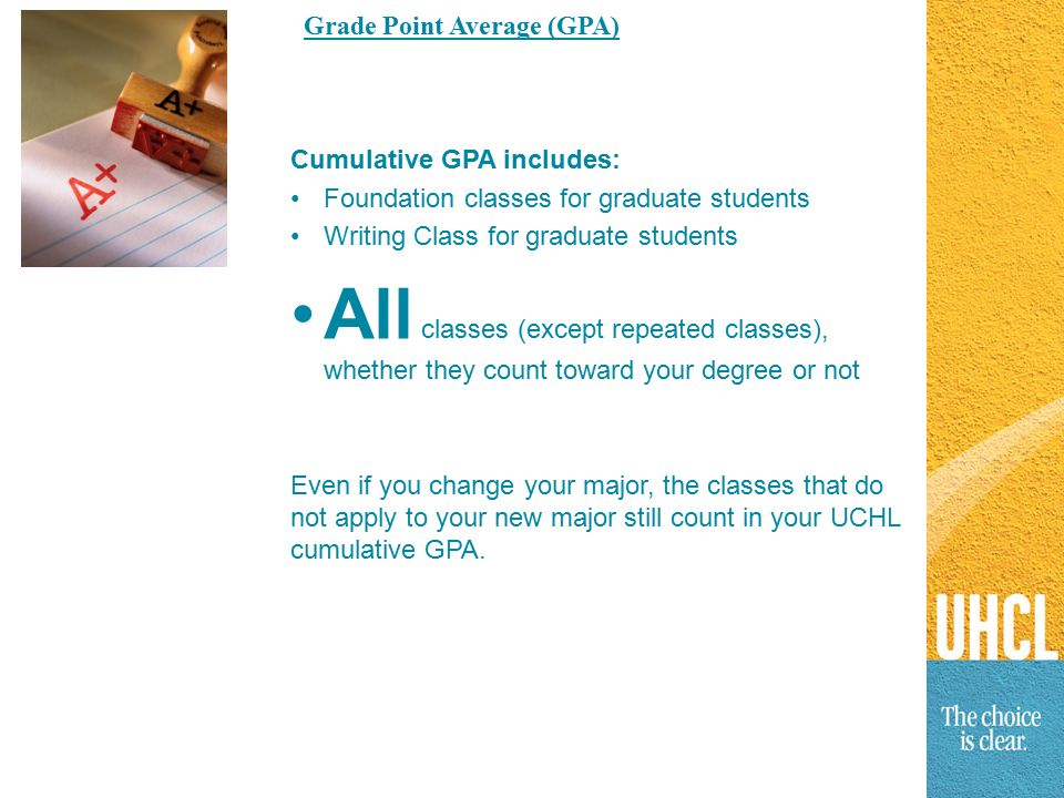 Cumulative GPA includes: Foundation classes for graduate students Writing Class for graduate students All classes (except repeated classes), whether they count toward your degree or not Even if you change your major, the classes that do not apply to your new major still count in your UCHL cumulative GPA.