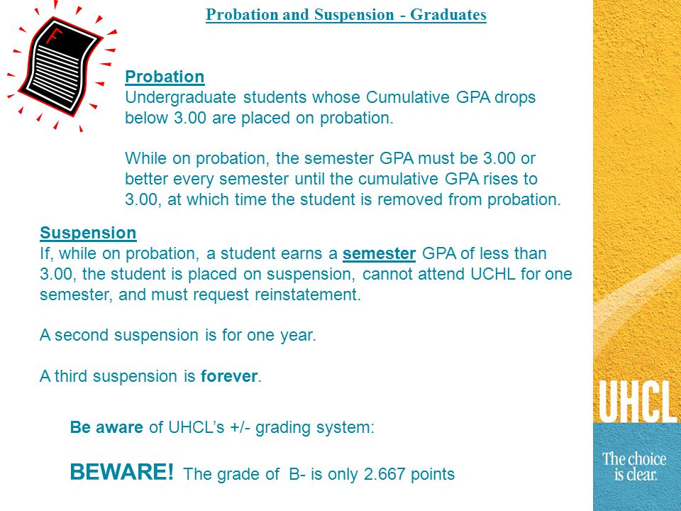 Probation and Suspension - Graduates Probation Undergraduate students whose Cumulative GPA drops below 3.00 are placed on probation.