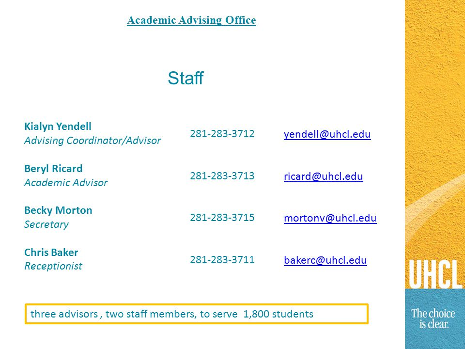 Staff Kialyn Yendell Advising Coordinator/Advisor Beryl Ricard Academic Advisor Becky Morton Secretary Chris Baker Receptionist 281-283-3712 281-283-3713 281-283-3715 281-283-3711 yendell@uhcl.edu ricard@uhcl.edu mortonv@uhcl.edu bakerc@uhcl.edu three advisors, two staff members, to serve 1,800 students Academic Advising Office