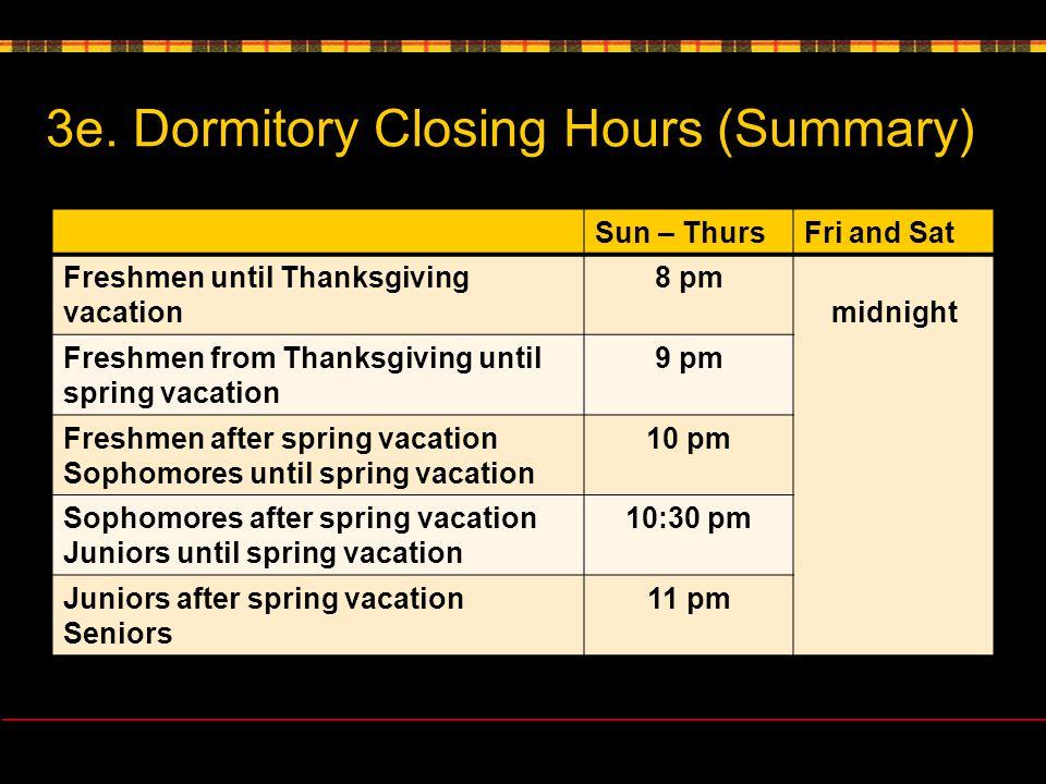 3e. Dormitory Closing Hours (Summary) Sun – ThursFri and Sat Freshmen until Thanksgiving vacation 8 pm midnight Freshmen from Thanksgiving until sprin