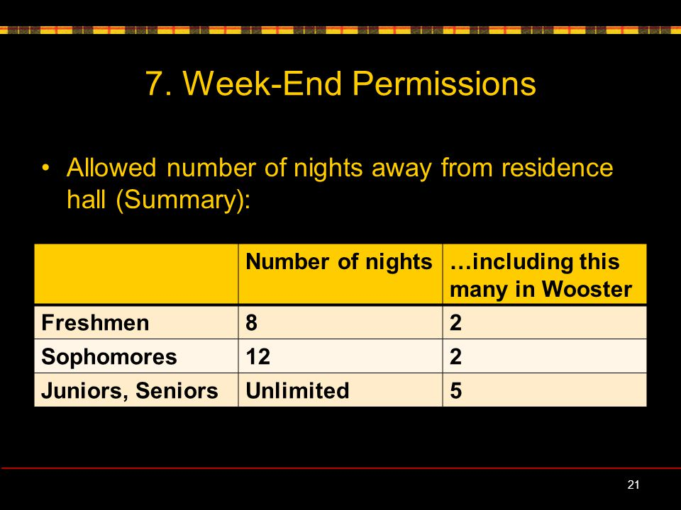 Allowed number of nights away from residence hall (Summary): 7.