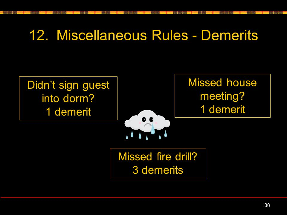 12. Miscellaneous Rules - Demerits 38 Didn't sign guest into dorm.