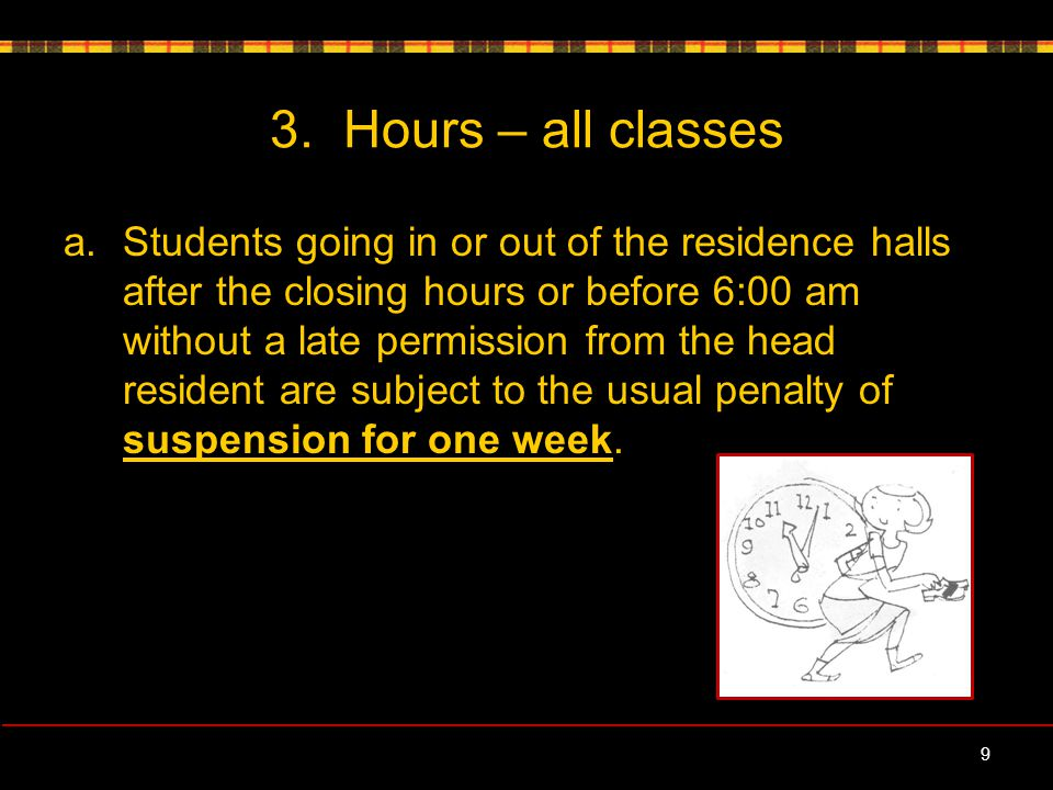 3.Hours – all classes, contd.