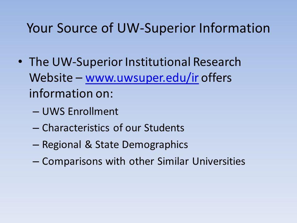 Your Source of UW-Superior Information The UW-Superior Institutional Research Website – www.uwsuper.edu/ir offers information on:www.uwsuper.edu/ir –